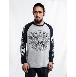 Ss 0222 Gothic Punk Saber And Skull Pattern Long Sleeves T Shirt For Men
