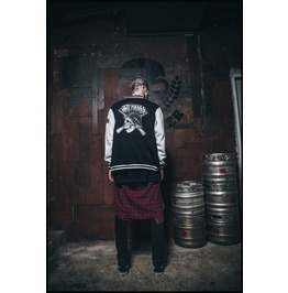 Ss 0224 Black Gothic Punk Skeleton Soldier Pattern Baseball Coat For Men