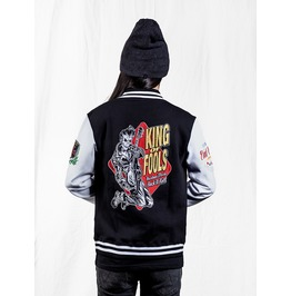 Black Gothic Punk Guita Playing Skull Pattern Baseball Coat For Men