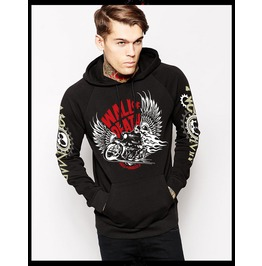 Ss 0229 Black Gothic Punk Motorcycling Skull Pattern Hoodie For Men