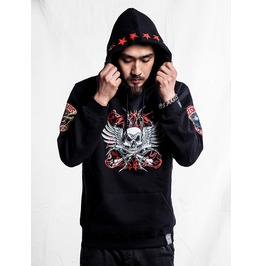 Ss 0231 Black Gothic Punk Monsterwolf Pattern Hoodie For Men