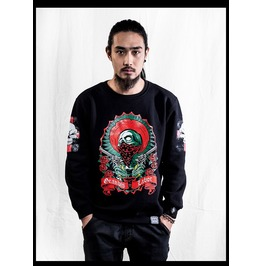 Ss 0232 Black Gothic Punk Red Skeleton Pattern Sweatshirt For Men