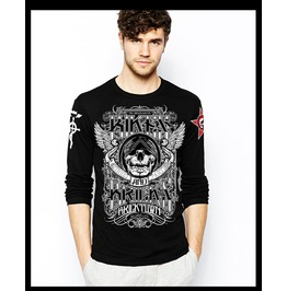 Ss 0233 Black Gothic Dark Skull Pattern Punk Long Sleeves T Shirt For Men