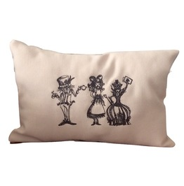 Embroidered Alice In Wonderlad Tea Party Mini Pillow