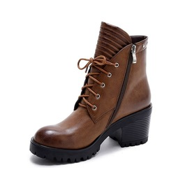Chunky High Heel Tie Up Brown Ankle Boots
