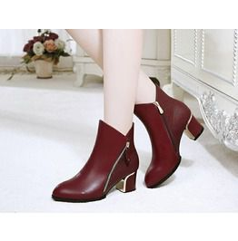 Chunky High Heel Side Zipper Ankle Boots