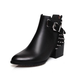 Chunky High Heel Back Zipper Rivets Ankle Boots