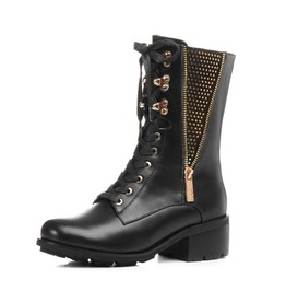Chunky Heel Side Zipper Rivets Thigh High Boots