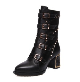 Chunky High Heel Multiple Buckle Straps Tassel Boots
