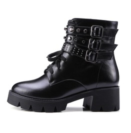 Chunky Heel Tie Up Rivets Buckle Straps Ankle Boots