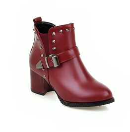 Chunky High Heel Rivets Buckle Strap Ankle Boots
