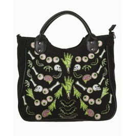 Skeleton Bones Bats Skulls Eyeballs Gothic Shoulder Bag Handbag