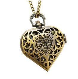 Retro Charm Girl Heart Quartz Pocket Watches Necklace Gift Pendant Locket