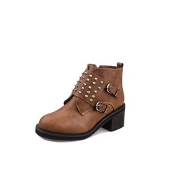 Chunky High Heel Retro Style Rivets Buckle Strap Ankle Boots