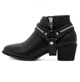 Chunky High Heel Zipper Strap Ankle Boots
