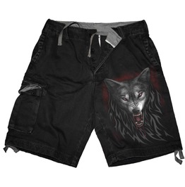 Men,S New Black Wolves Vintage Cargo Shorts