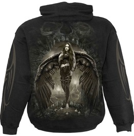 Men,S Black Dark Angel Metal Pullover Skull Hoodie