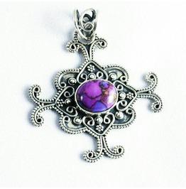 Unique Purple Turquoise 925 Sterling Silver Pendant