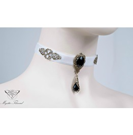 White Velvet Black Agate Choker, Please Select Neck Perimeter (Centimeters)