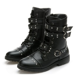 Chunky Low Heel Rivets Studded Buckle Straps Ankle Boots