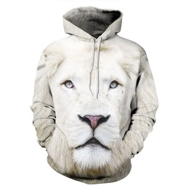 White Lion Hood Hoodie Sweatshirts Hooded Men Funny Size S M L Xl