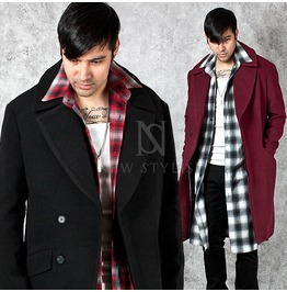 Big Collar Accent Sharp Wool Long Coat 108