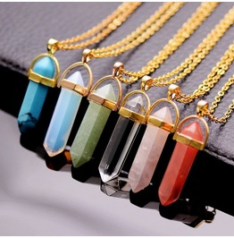 Grunge Point Gemstone Necklace Gold Collection