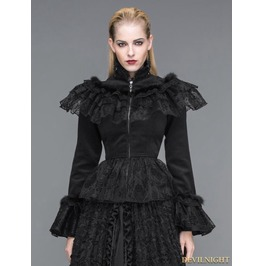 Ct026 Elegant Black Gothic Lace And Fur Short Jacket For Women