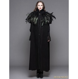 Ct031 F Black Gothic Removable Dark Green Feather Hooded Cape For Women