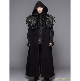Ct031 M Black Gothic Removable Dark Green Feather Hooded Cape For Men