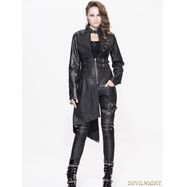 Ct032 Black Gothic Punk Old Style Asymmetric Jacket For Women