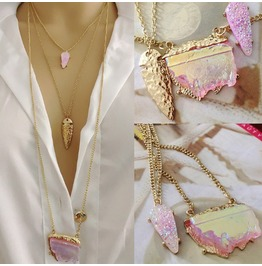 Bohemian Pink Gemstone Triple Necklace In Gold Color