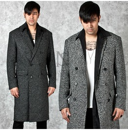 Stylish Marled Wool Double Breasted Slim Long Coat 109