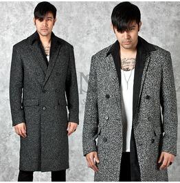 Stylish Marled Wool Double Breasted Slim Long Coat 109