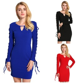 Women Long Sleeve Bodycon Casual Dress Party Evening Cocktail Short Dress
