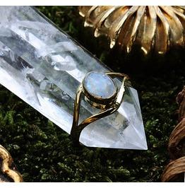 Rainbow Moonstone Bohemian Brass Ring