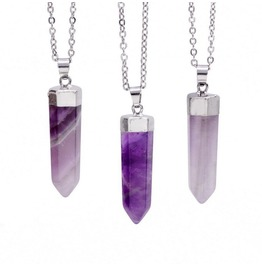 Bullet Amethyst Gemstone Necklace In Silver And Gold Color