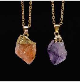 Rough Amethyst And Citrine Gemstone Necklace In Gold Color