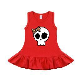 Leopard Bow Girly Skull Red Sleeveless Baby & Toddler Dress