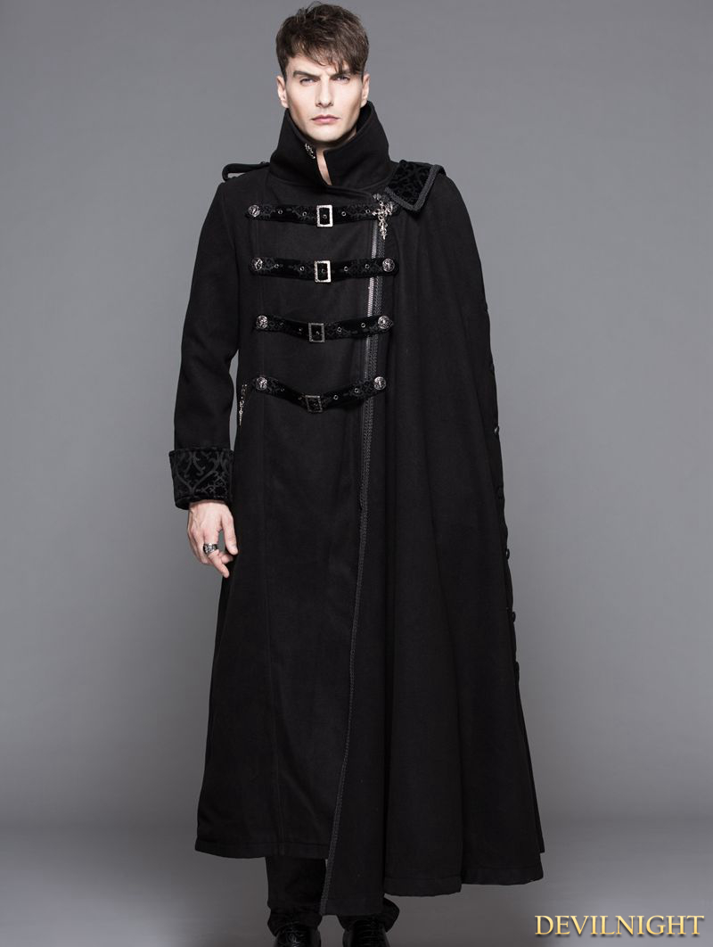 Ct040 Black Gothic Punk Asymmetric Military Jacket For Men 130581