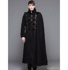 Ct040 Black Gothic Punk Asymmetric Military Jacket For Men