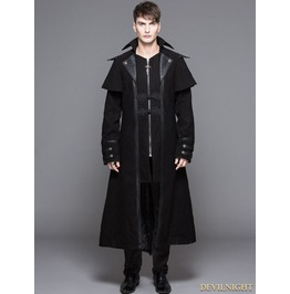 Ct042 Black Vintage Gothic Long Cape Design Coat For Men