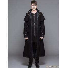 Ct042 Black Vintage Gothic Long Cape Design Coat For Men