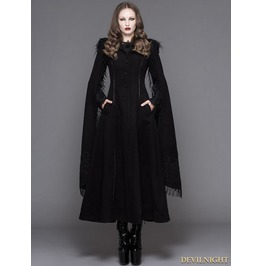 Ct02401 Black Gothic Long Hooded Cape Coat For Women