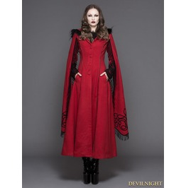 Ct02402 Red Gothic Long Hooded Cape Coat For Women