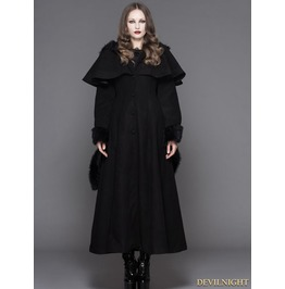 Ct02501 Black Gothic Dovetail Hooded Cape Long Coat For Women