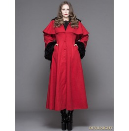 Ct02502 Red Gothic Dovetail Hooded Cape Long Coat For Women