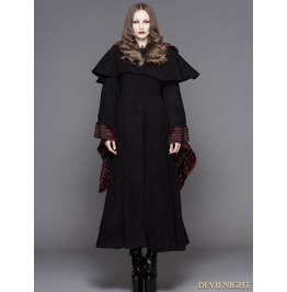Black And Red Stripe Cuffs Gothic Dovetail Cape Long Jacket For Women