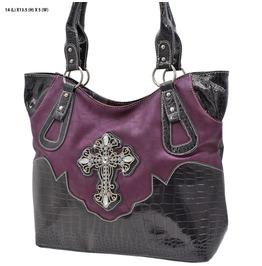 Purple Cross Rhinestone Western Purse Cowgirl Handbag
