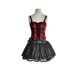 Gothic Rock Metal Tartan Top And Leather Look Skirt Dress